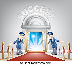 Success Red Carpet Entrance - Success door concept of a...