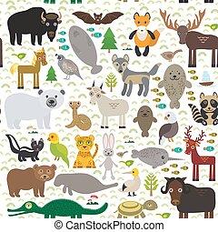 seamless pattern bison bat manatee fox elk horse wolf...