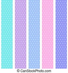Polka dot background seamless pattern with pink lilac blue stripes. Vector