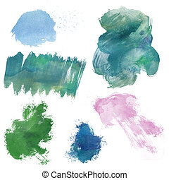 Paint design elements - Image of paint blobs and strokes,...