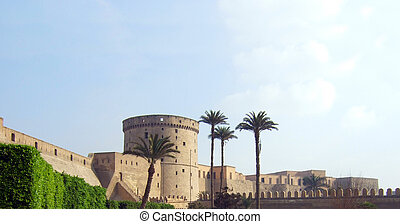 citadel of Saladin in Cairo in rays of rising sun, Egypt