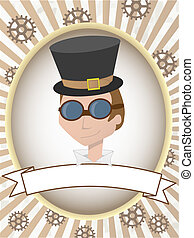 Steampunk man product label gears and goggles