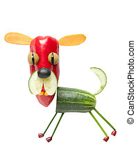 feliz, perro, hecho, de, vegetales, en, aislado, Plano de...