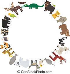 Animal round frame, bison bat manatee fox elk horse wolf fur seal Polar bear Mountain goat raccoon Eagle skunk parakeet Jaguar narwhal elk Grizzly gannet Muskox alligator. Vector
