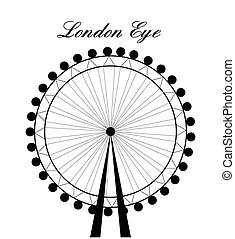 Image of cartoon London Eye silhouette with sign.Vector...