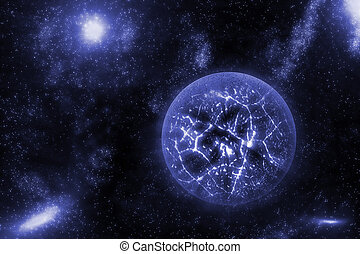 Image of crashing, exploding planet  in deep space, universe with star field background. Computer generated abstract background.