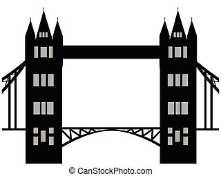 Image of cartoon Tower bridge silhouette. Vector illustration isolated on white background.