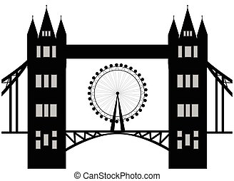 Image of cartoon Tower bridge and london eye  silhouette. Vector illustration isolated on white background.