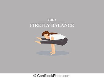 Yoga Asana Firefly Balance Pose Vector Illustration - Sporty...