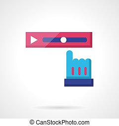 Video rewind color vector icon - Pink tracker strip and blue...