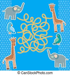 Bird parrot elephant and giraffe on blue background labyrinth game for Preschool Children. Vector