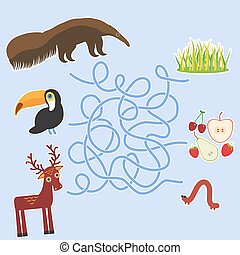 Bird toucan anteater and deer on blue background labyrinth...