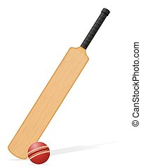 cricket bat and ball vector illustration isolated on white...