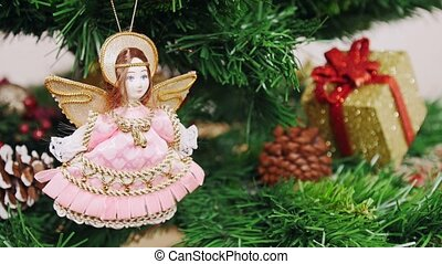 Decoration of Christmas tree angel doll toy. Pan
