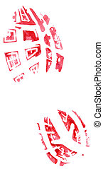 shoe print - red shoe print isolated on a white