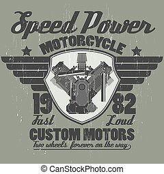 Motorcycle engine, riders team emblem graphic design -...