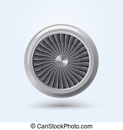 Vector Jet Engine - Jet Engine Realistic front view,...