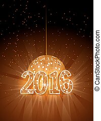 Number 2016 with disco ball.