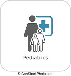 Pediatrics and Medical Services Icon Flat Design Isolated