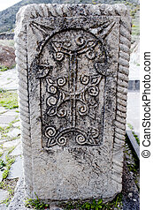 Ancient Armenian cross stone - Ancient Armenian cross graven...