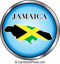 Jamaica Round Button - Vector Illustration for Jamaica,...
