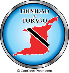 Trinidad Tobago Round Button - Vector Illustration for...