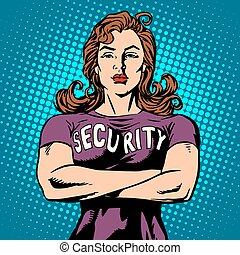 woman security guard pop art retro style Security Agency...