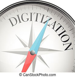 compass concept digitization - detailed illustration of a...