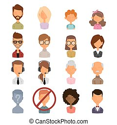 Set of people portrait face icons web avatars flat style...