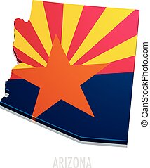 Map Arizona - detailed illustration of a map of Arizona with...