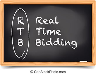 Real Time Bidding - detailed illustration of a blackboard...