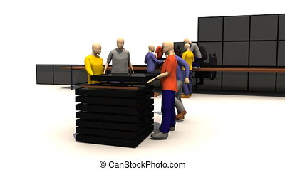 3D men presenting business people a