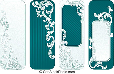 French retro vertical banners in green