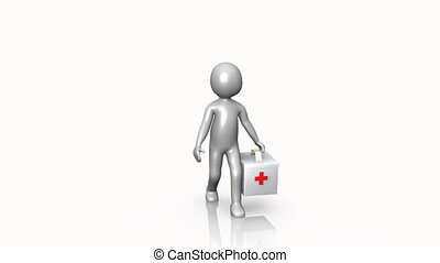 3D man holding a first aid kit against a white background