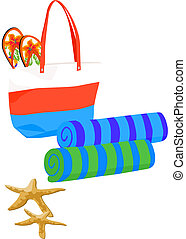 Beach Bag with Towels and Starfish