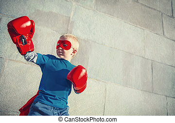 Boy with boxing gloves - Little boy with boxing gloves...