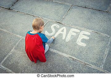 "???????? - Little boy with inscription ""safe"""