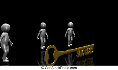 3D men holding the key to success against a black background...