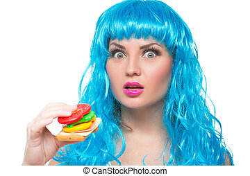 young girl doll with blue hair plastic eating a sandwich...
