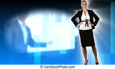 Blond woman presenting people at work in the office