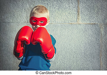 Idea - Little boy with boxing gloves