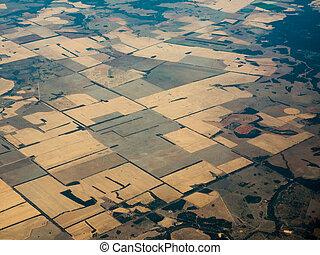 Bird\'s Eye View of Fertile Fields in Queenland AU