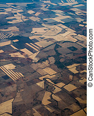 Aerial View of Field and Crop Patterns in Queensland AU