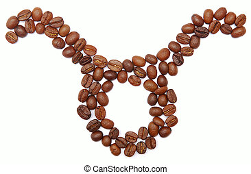 taurus (zodiac sign) of coffee beans isolated on white