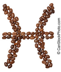 pisces zodiac sign of coffee beans isolated on white