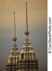Spires at the Top of Petronas Towers at Twilight Kuala...