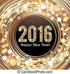 New Years Eve card - New Year card 2016 Golden shiny letters...