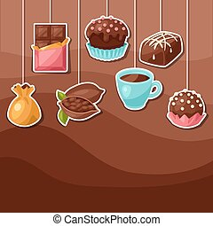 Chocolate background with various tasty sweets and candies.