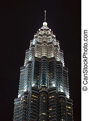 Petronas Towers Lights up the Skyline at Night Kuala Lumpur...