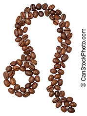 leo (zodiac sign) of coffee beans isolated on white